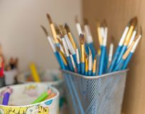 Art tools. And Colored Pencils. colored pencils, and crayons ready for art projects Royalty Free Stock Photography