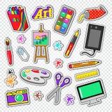 Art Tools Doodle Etiquetas engomadas de la pintura con las pinturas, el dispositivo gráfico de Digitaces y la cámara de la foto stock de ilustración