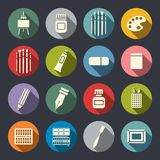 Art tools flat icon set Stock Photography