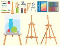Art tools flat painting icons details stationery creative paint equipment   Royalty Free Stock Image