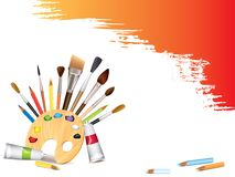 Art tools and grunge smears. Art tools and grunge brush smears background royalty free illustration