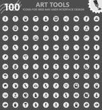 Art tools icons set Stock Photo
