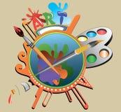 Illustrative composition of the artist vector illustration