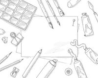 Art tools mockup. Background. Artist quipment sketch mockup: brushes, paper sheet, pencil and paints. Hobby and leisure hand drawn vector mockup. Paint and Stock Images