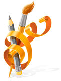 Art tools pencil and brush braided by ribbon Royalty Free Stock Image