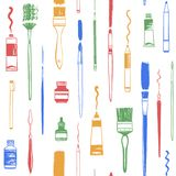 Brush, hand drawn art tools seamless repeat pattern Royalty Free Stock Photography