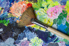 Art tools set: fan paint brush Royalty Free Stock Photos