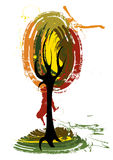 Art tree. Painted illustration background Royalty Free Stock Photography