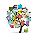 Art tree with animal faces, sketch for your design. Vector illustration Royalty Free Stock Photo