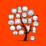 Art tree with animal faces, sketch for your design. Vector illustration Royalty Free Stock Photos