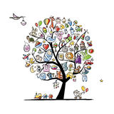 Art tree with baby toys for your design Royalty Free Stock Photo