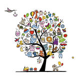 Art tree with baby toys for your design Stock Images