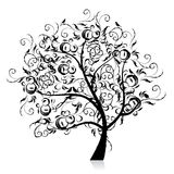 Art tree beautiful, black silhouette Royalty Free Stock Photo