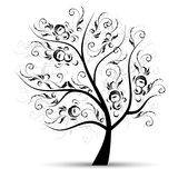 Art tree beautiful, black silhouette Stock Photo