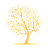 Art tree beautiful, black silhouette Stock Images