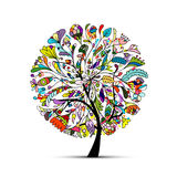 Art tree beautiful for your design Stock Photos