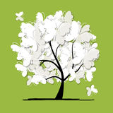 Art tree with butterflies for your design Royalty Free Stock Image
