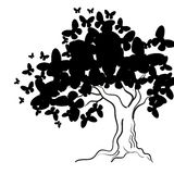 Art tree with butterflies for your design. Vector illustration Stock Photos