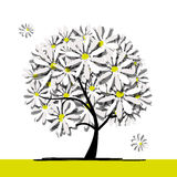 Art tree with camomiles for your design Stock Images