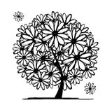 Art tree with camomiles for your design Stock Photography