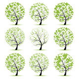 Art tree collection for your design Stock Photos