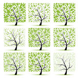 Art tree collection for your design Royalty Free Stock Image