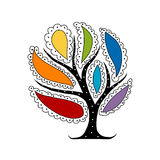 Art tree with colorful petals for your design Royalty Free Stock Photos