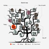 Art tree design, days of month concept Stock Photos