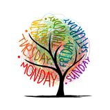 Art tree design with 7petal days of week stock illustration