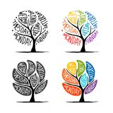 Art tree design with 7 petal days of week Royalty Free Stock Images