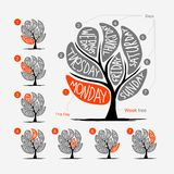 Art tree design with 7 petal days of week Stock Images