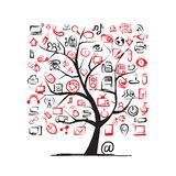Art tree with IT devices for your design Royalty Free Stock Images