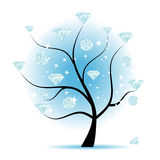 Art tree with diamonds. For your design Royalty Free Stock Image