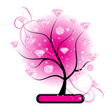 Art tree with diamonds pink for your design Stock Image