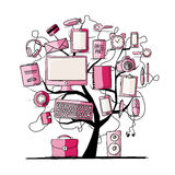 Art tree with digital office devices. Royalty Free Stock Image