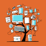 Art tree with digital office devices for your design Stock Image