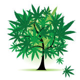 Art tree fantasy, cannabis leaf Stock Images