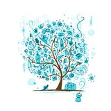 Art tree with female accessories for your design Royalty Free Stock Images