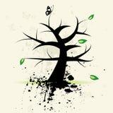 Art tree, grunge background. Art tree on grunge background, vector illustration royalty free illustration