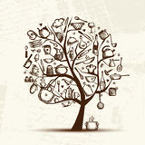 Art tree with kitchen utensils, sketch drawing. For your design Royalty Free Stock Images