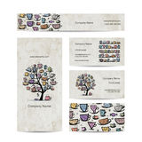 Art tree with mugs and cups. Business cards design Royalty Free Stock Images