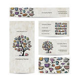 Art tree with mugs and cups. Business cards design Royalty Free Stock Image