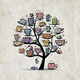 Art tree with mugs and cups. Sketch for your Stock Images