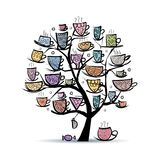 Art tree with mugs and cups. Sketch for your vector illustration