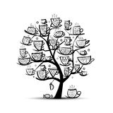Art tree with mugs and cups. Sketch for your Stock Photography