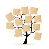 Art tree with papers for your text Stock Photography