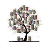 Art tree with pickle jars for your design Stock Image