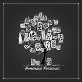 Art tree with pickle jars for your design Stock Photo