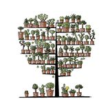 Art tree with plants in pots, sketch for your Stock Images