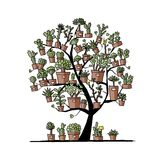 Art tree with plants in pots, sketch for your Stock Photo
